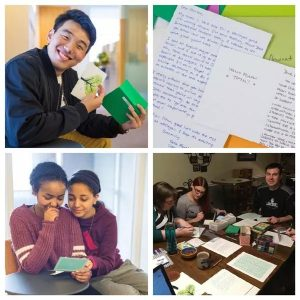 Four photos of students and cards.