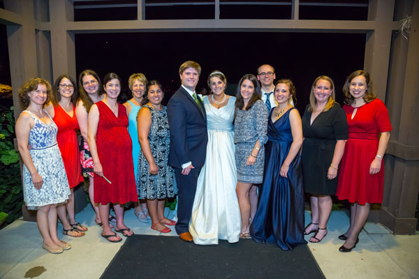 Pictured L-R: Grace Hollander '08, Ashley Kappmeyer '08, Megan Sheehan '08, Vicki (Beata) Ward '08, Cathy (Zoet) Hahn Manning '80, Nicole (Valdez) Zalapi '08, Adam Pusateri '08 – Groom, Caitlin (Ludwig) Pusateri '08 – Bride, Angie (Bazzell) McHale '00, Dan Armstrong '08, Sarah (Keister) Armstrong '08, Dr. Amy Sipovic '08, Kate Tombaugh '07