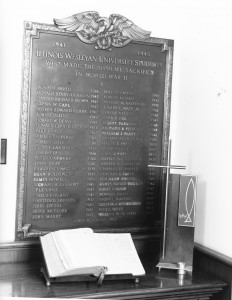 Plaque commemorating the students from IWU who gave their lives during WWII