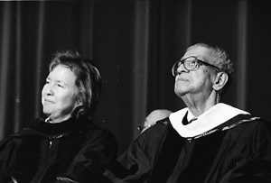 Edelbert Rodgers at Founders' Day Convocation 2001. Provost Janet McNew is pictured on the left.