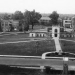 Quad Duration Hall. Approximate date 1964 or '65 due to presence of Old North on right and Sheean not yet started.18-1/17 Aerial Photographs