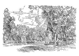 The West Gates, looking north toward the Women's Dormitory. From a 1931 booklet of pen sketches of Illinois Wesleyan University.