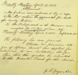 April 17, 1867 Faculty Meeting Minutes, RG 10-1/1/1