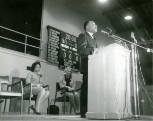 Dr. King speaking during his 1966 visit to IWU