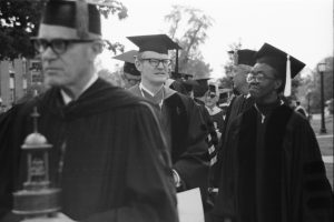 Brooks with President Eckley prior to Commencement 1973