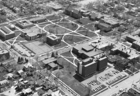 1974 Aerial view of campus