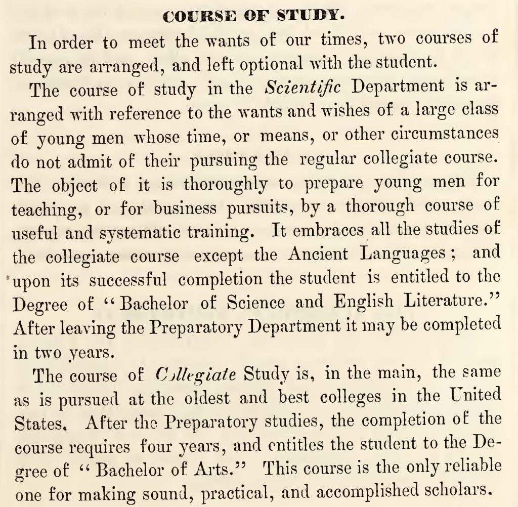Page 17 of IWU's first Catalogue of Courses, 1851-52