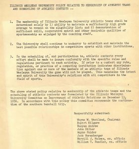 A 1958 restatement of the 1956 policy that IWU would not schedule games with athletic teams that discriminated against members of IWU teams.