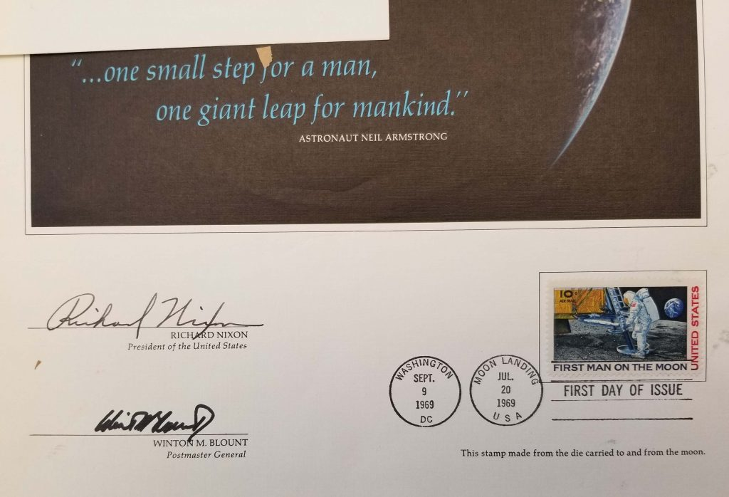 Close-up of canceled first-issue stamps commemorating the Apollo 11 Moon landing