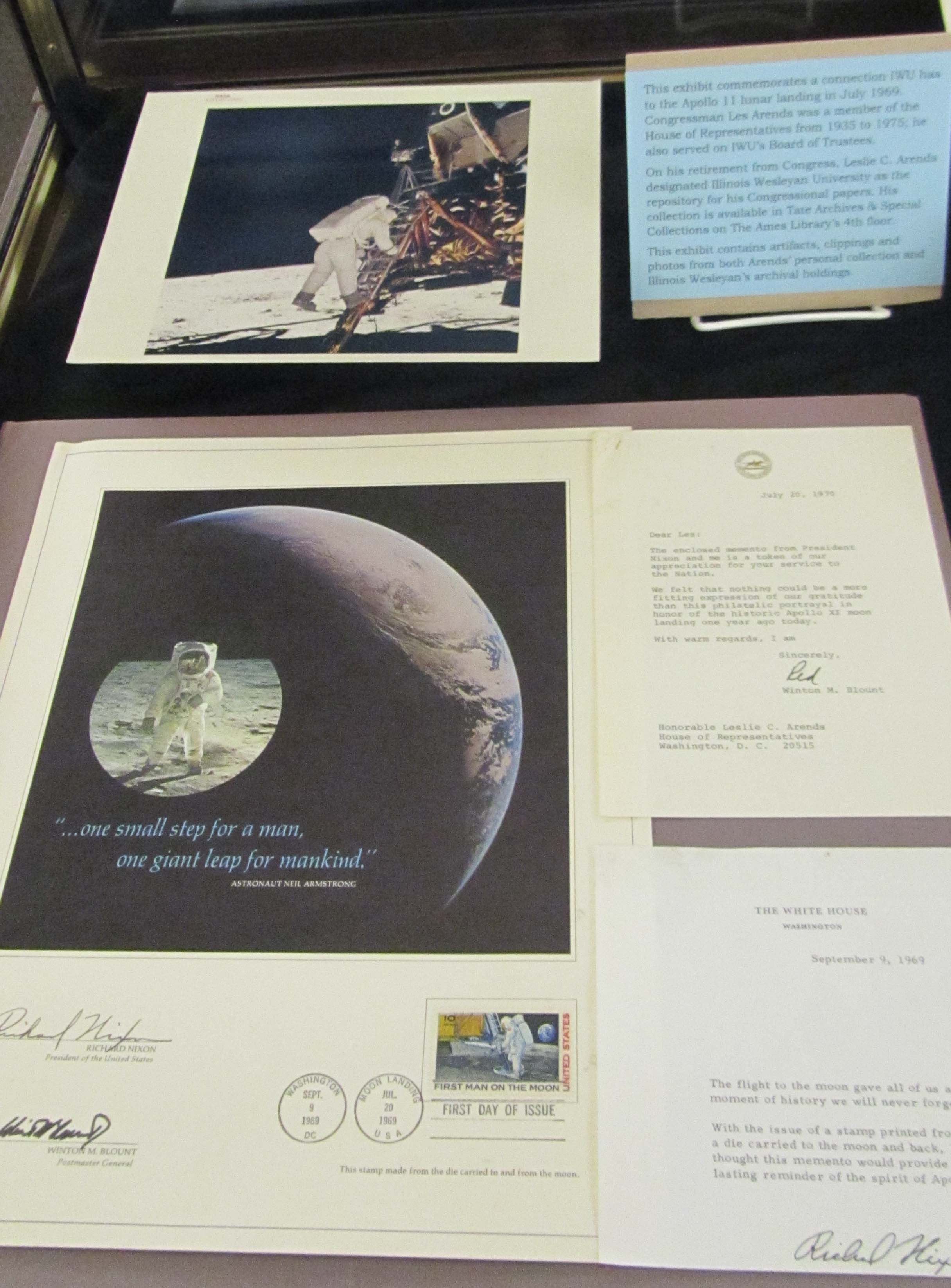 two items placed on the left hand side of the Apollo 11 exhibit case
