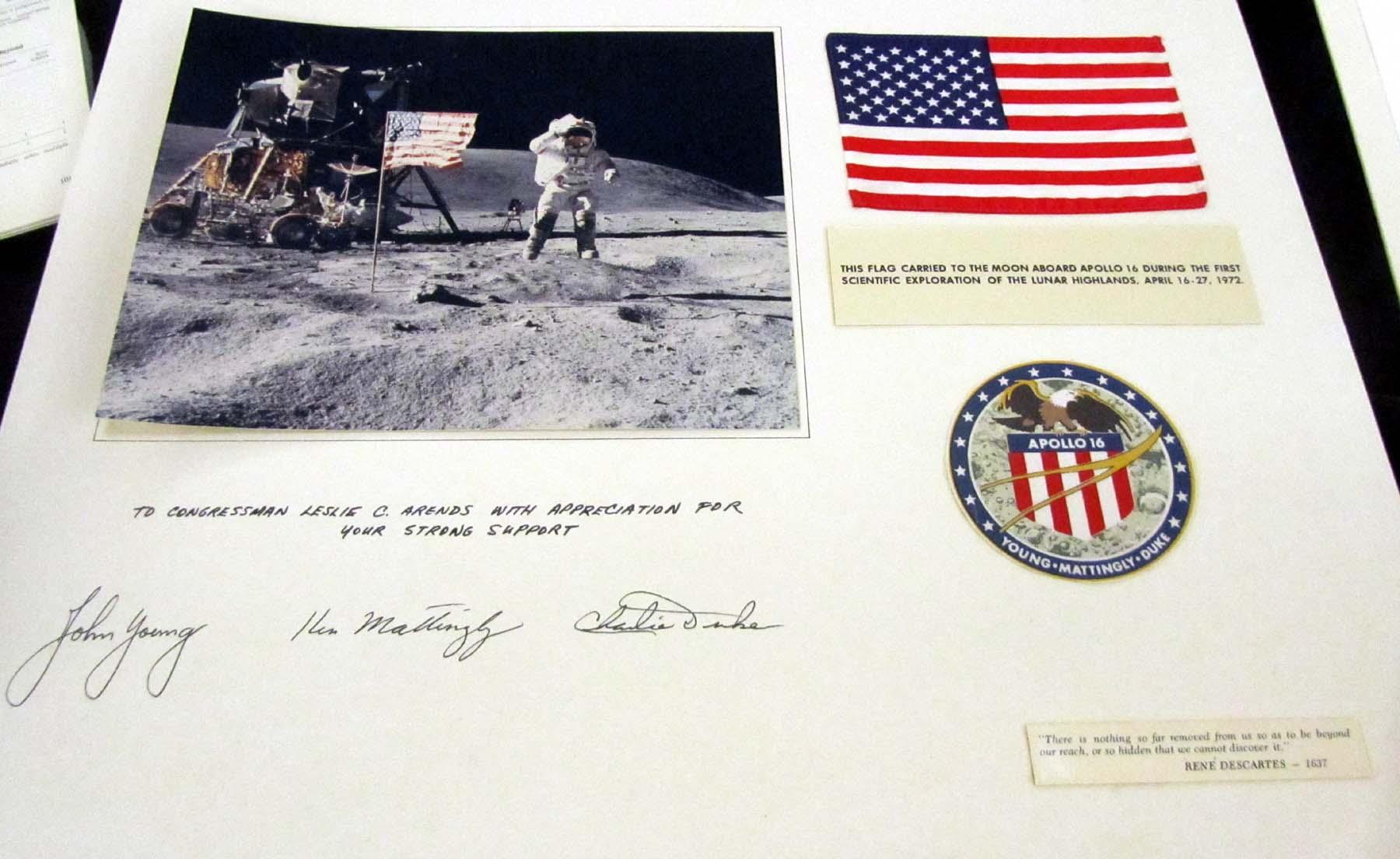 Apollo 16 phoo and commemorative items