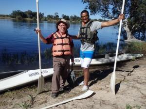 Enjoying a kayak trip on the Zambesi River