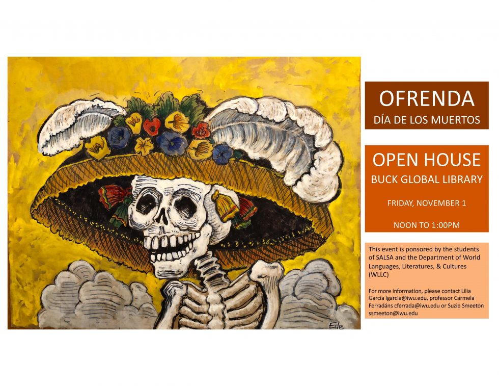 "Announcement of ""Dia de muertos"" event at Buck Global Library, Illinois Wesleyan"