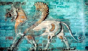 Griffin-lion relief in glazed brickwork, Achaemenid Period, Ancient Persia, 530-330 BC. From the Musee du Louvre, Paris. (Photo by Ann Ronan Pictures/Print Collector/Getty Images) from MissedInHistory's blog post: http://www.missedinhistory.com/blog/missed-in-history-the-achaemenid-empire/