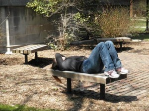 Student enjoys Spring Sun
