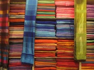 Nate's group stopped by this textile shop in the Fes medina. Multicolored scarfs and caftans and dresses stacked upon one another made for a stunning visual display.