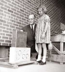 Contents of a time capsule placed in the building's cornerstone by IWU President Lloyd Bertholf will be revealed at Homecoming.