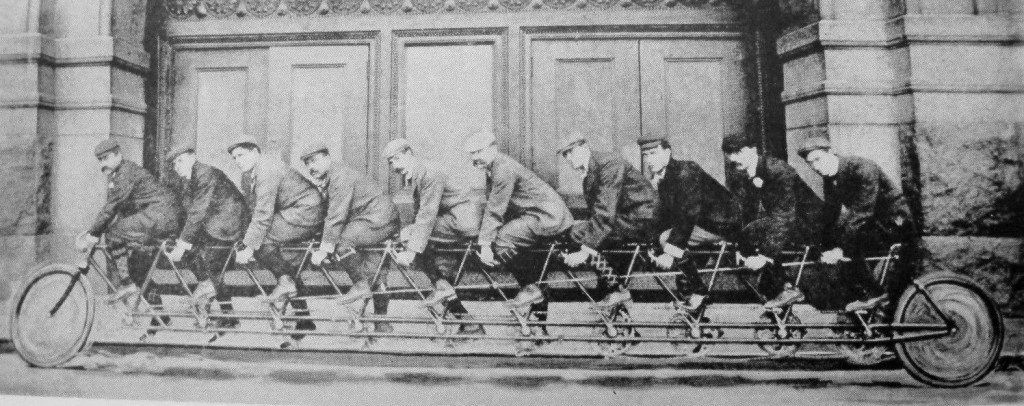 A 10-man bicycle (circa 1900). Photo courtesy of  chicagology.com