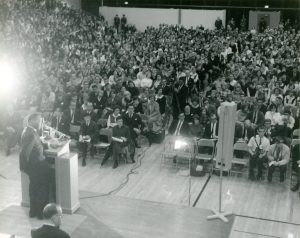 View of Fieldhouse crowd from behind Dr. King